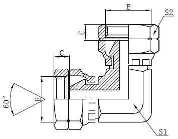 BSP Female Elbow Adapter Drawing
