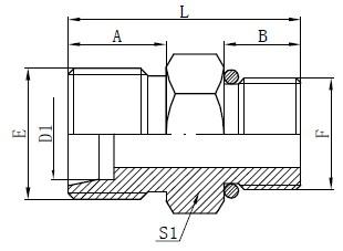 รูปวาดตัวเชื่อมต่อท่อของ SAE O-ring